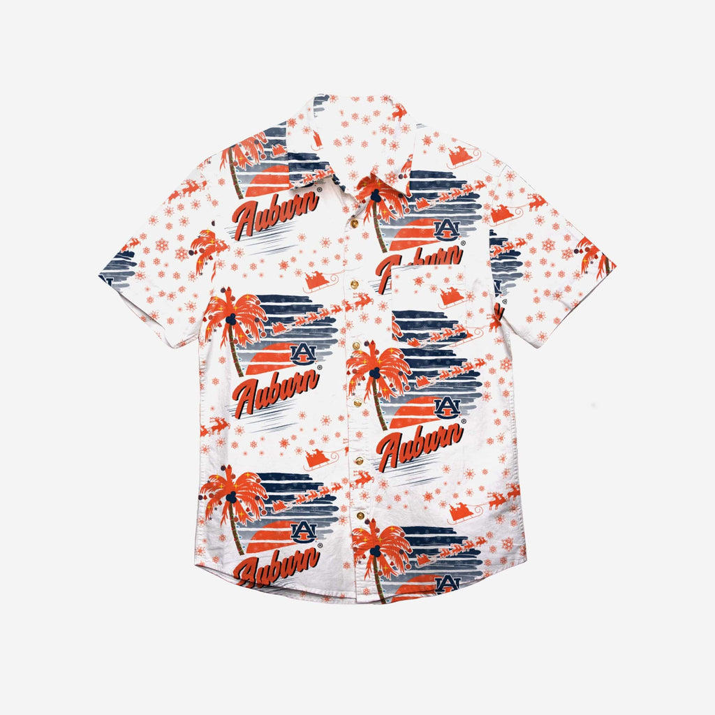 Auburn Tigers Winter Tropical Button Up Shirt