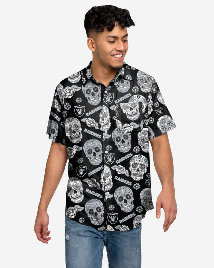 Las Vegas Raiders Day Of The Dead Button Up Shirt FOCO S - FOCO.com