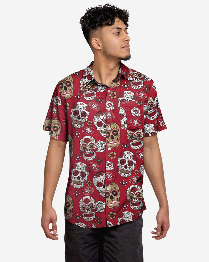 San Francisco 49ers Day Of The Dead Button Up Shirt FOCO S - FOCO.com