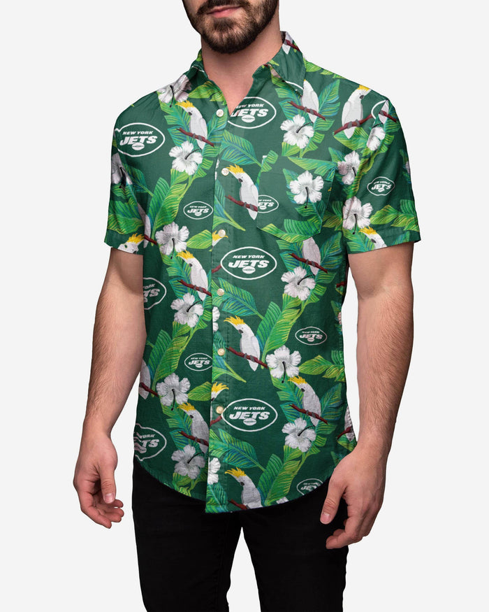 New York Jets Floral Button Up Shirt FOCO S - FOCO.com