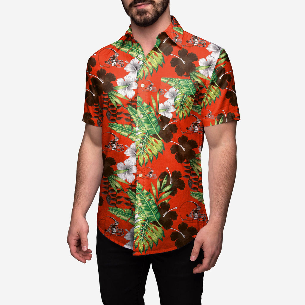 Cleveland Browns Floral Button Up Shirt FOCO - FOCO.com