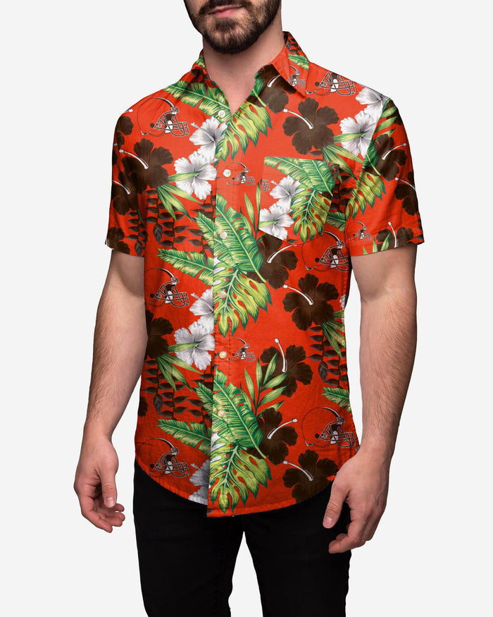 Cleveland Browns Floral Button Up Shirt FOCO 2XL - FOCO.com