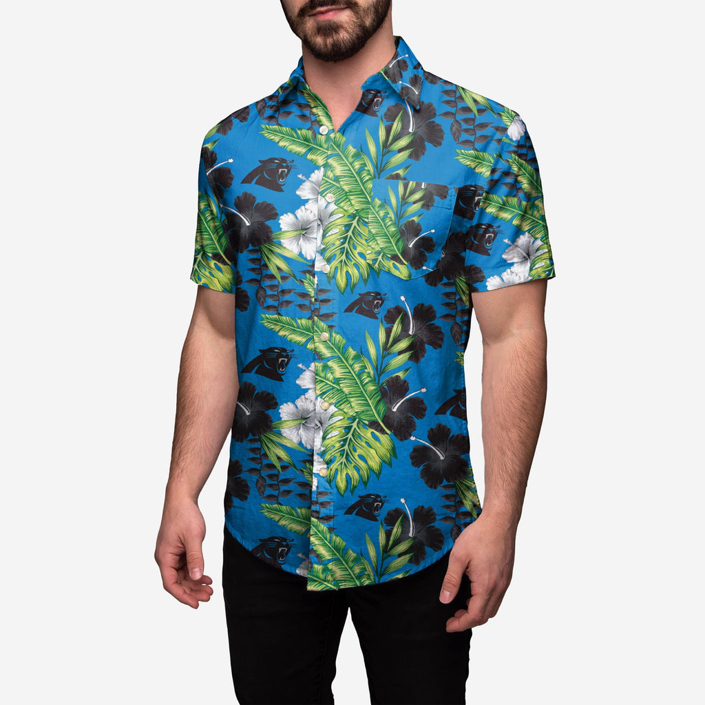 Carolina Panthers Floral Button Up Shirt FOCO - FOCO.com