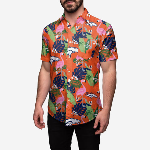Denver Broncos Floral Button Up Shirt