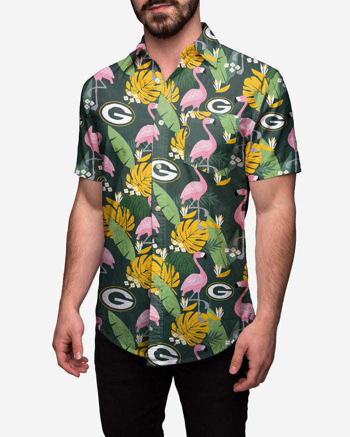 Green Bay Packers Floral Button Up Shirt FOCO 2XL - FOCO.com