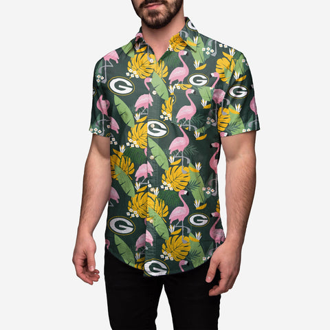 Green Bay Packers Floral Button Up Shirt