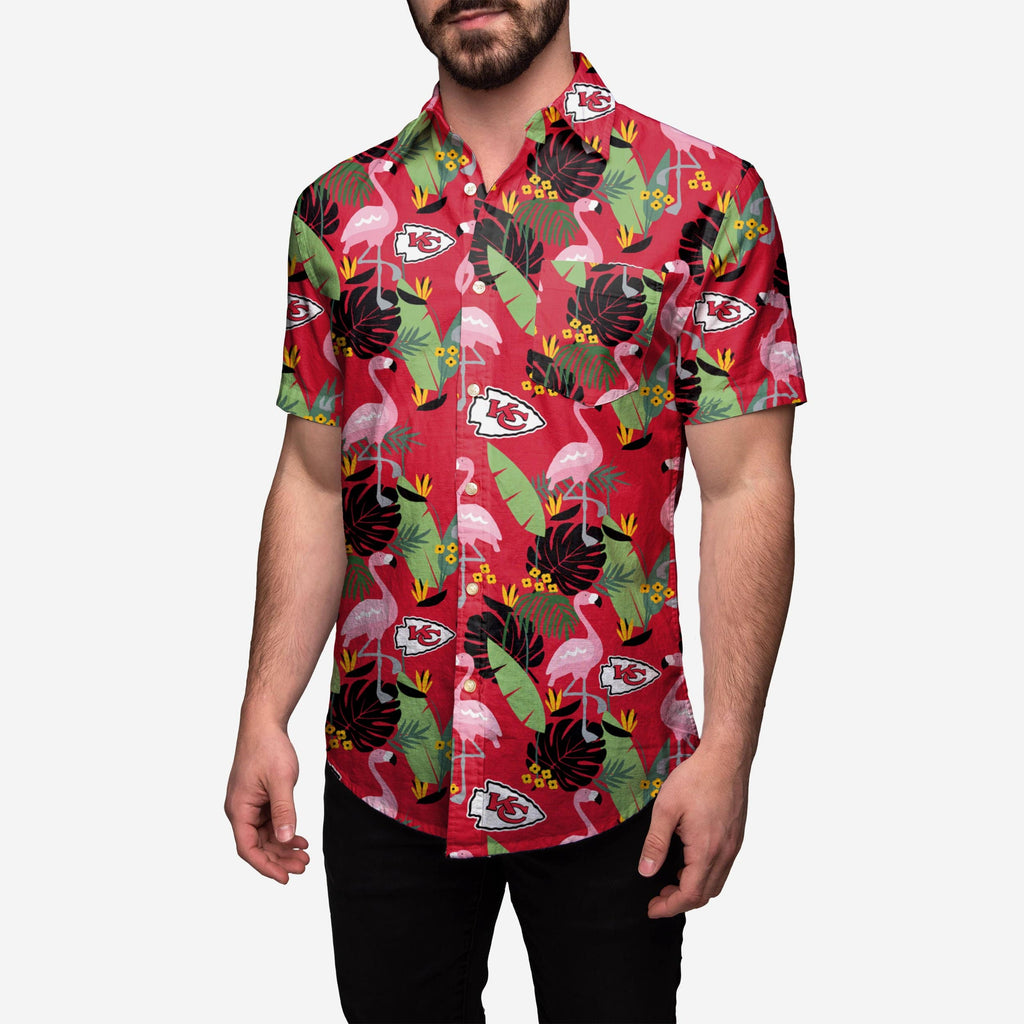 Kansas City Chiefs Floral Button Up Shirt FOCO - FOCO.com