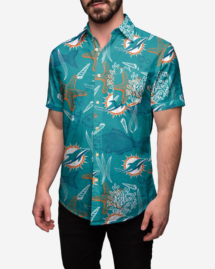 Miami Dolphins Floral Button Up Shirt FOCO 2XL - FOCO.com