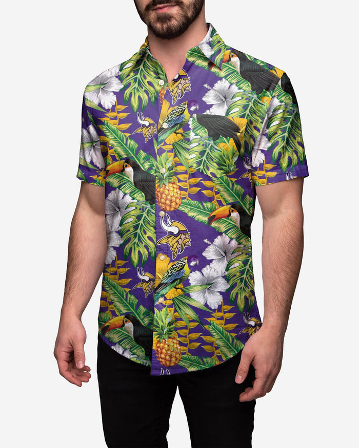 Minnesota Vikings Floral Button Up Shirt FOCO 2XL - FOCO.com