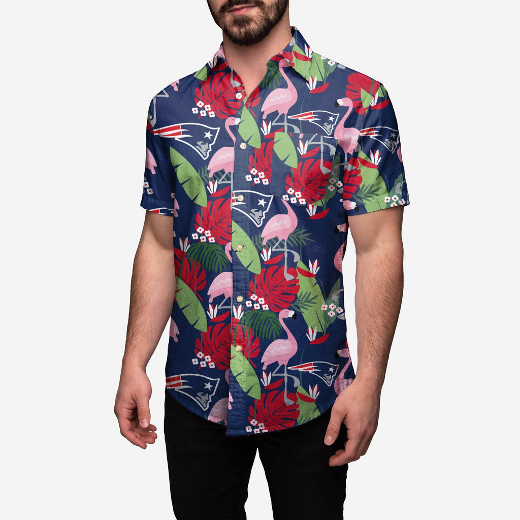 New England Patriots Floral Button Up Shirt FOCO - FOCO.com
