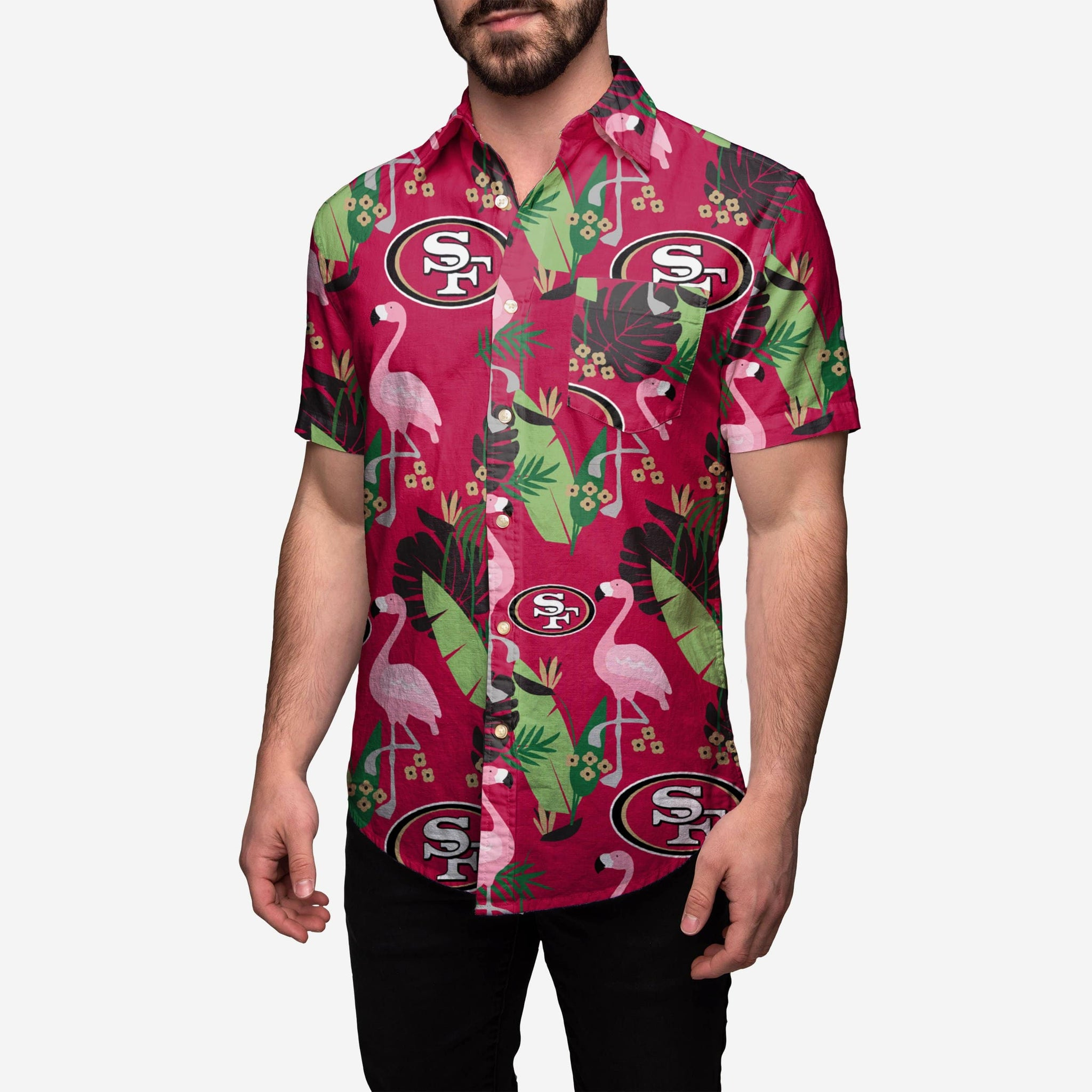 edd35602a75 San Francisco 49ers Floral Button Up Shirt FOCO - FOCO.com