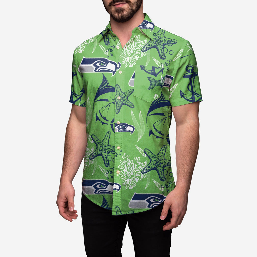 Seattle Seahawks Floral Button Up Shirt FOCO - FOCO.com