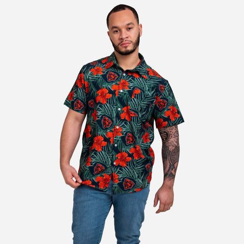 Chicago Bears Hibiscus Button Up Shirt