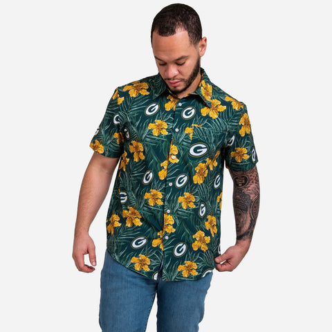 Green Bay Packers Hibiscus Button Up Shirt