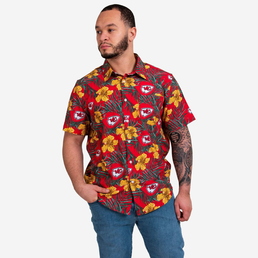 Kansas City Chiefs Hibiscus Button Up Shirt FOCO S - FOCO.com