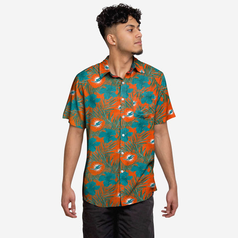 Miami Dolphins Hibiscus Button Up Shirt