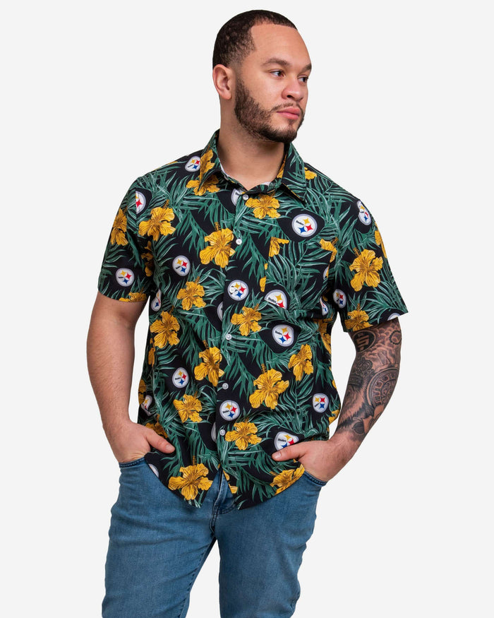 Pittsburgh Steelers Hibiscus Button Up Shirt FOCO S - FOCO.com