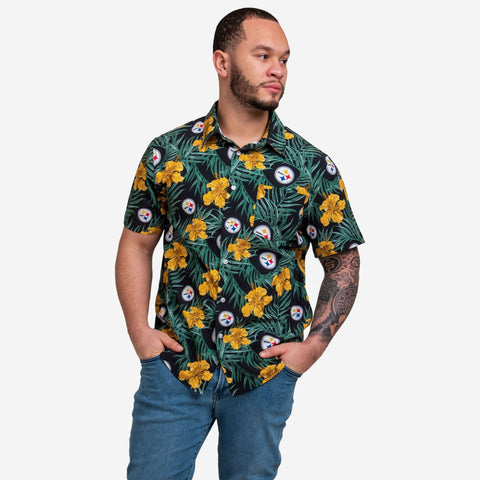 Pittsburgh Steelers Hibiscus Button Up Shirt