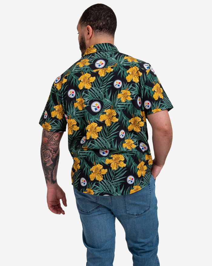 Pittsburgh Steelers Hibiscus Button Up Shirt FOCO - FOCO.com