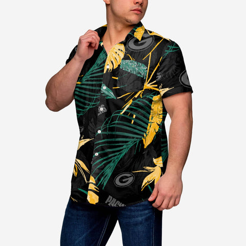 Green Bay Packers Neon Palm Button Up Shirt