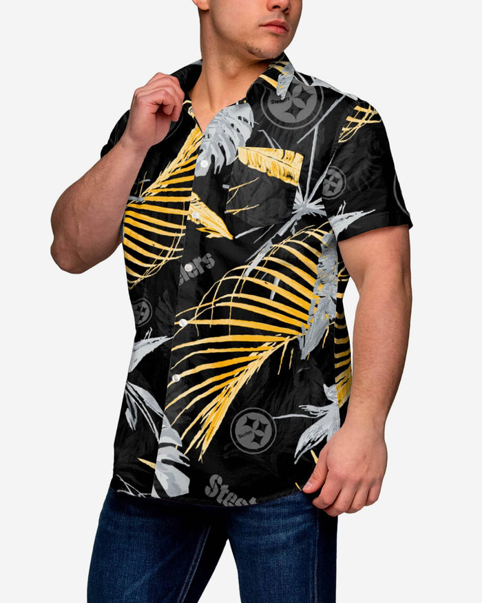 Pittsburgh Steelers Neon Palm Button Up Shirt FOCO S - FOCO.com