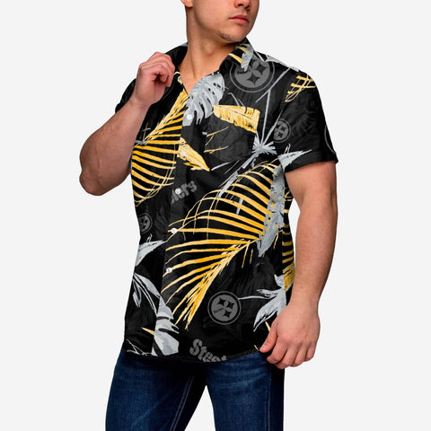 Pittsburgh Steelers Neon Palm Button Up Shirt