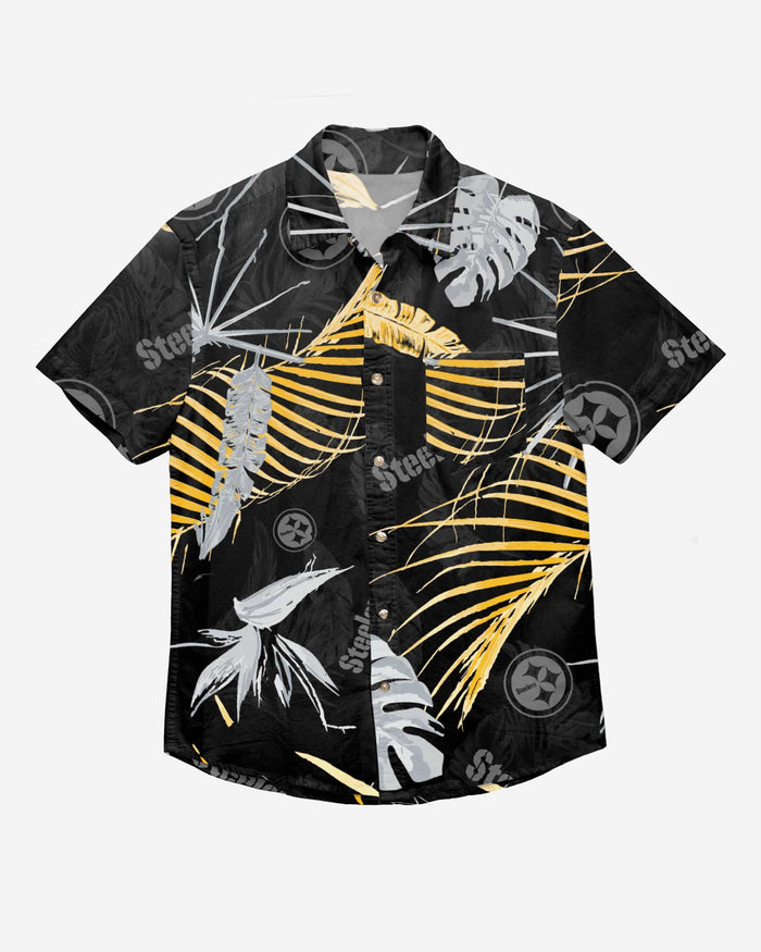 Pittsburgh Steelers Neon Palm Button Up Shirt FOCO - FOCO.com