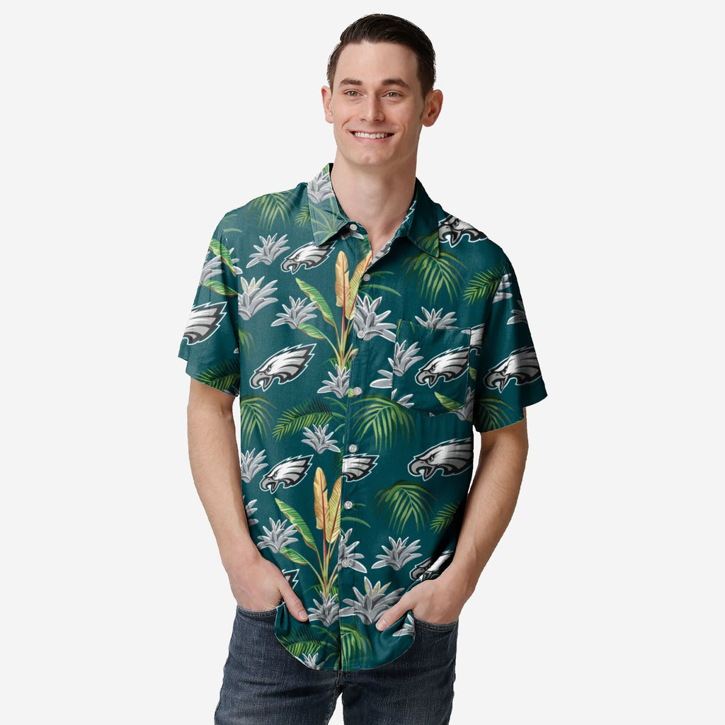Philadelphia Eagles Victory Vacay Button Up Shirt FOCO S - FOCO.com