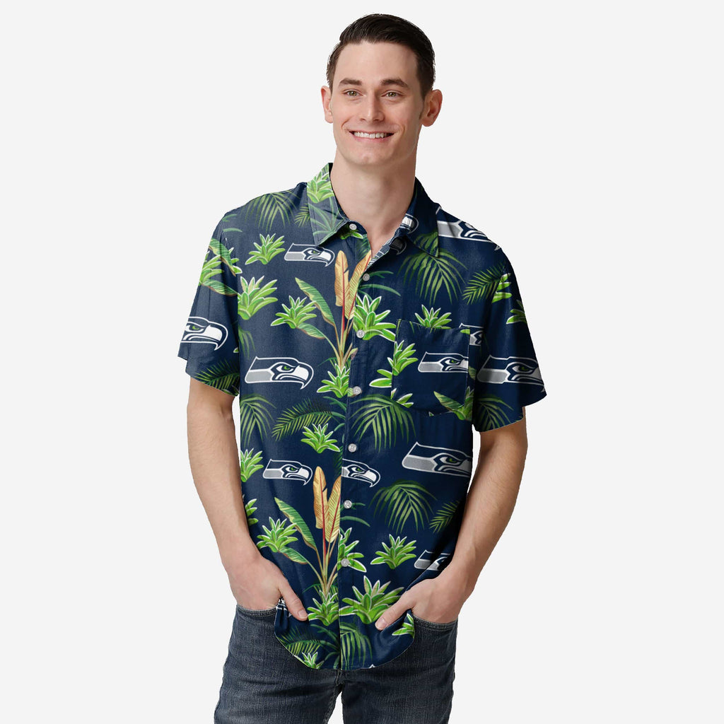 Seattle Seahawks Victory Vacay Button Up Shirt FOCO S - FOCO.com