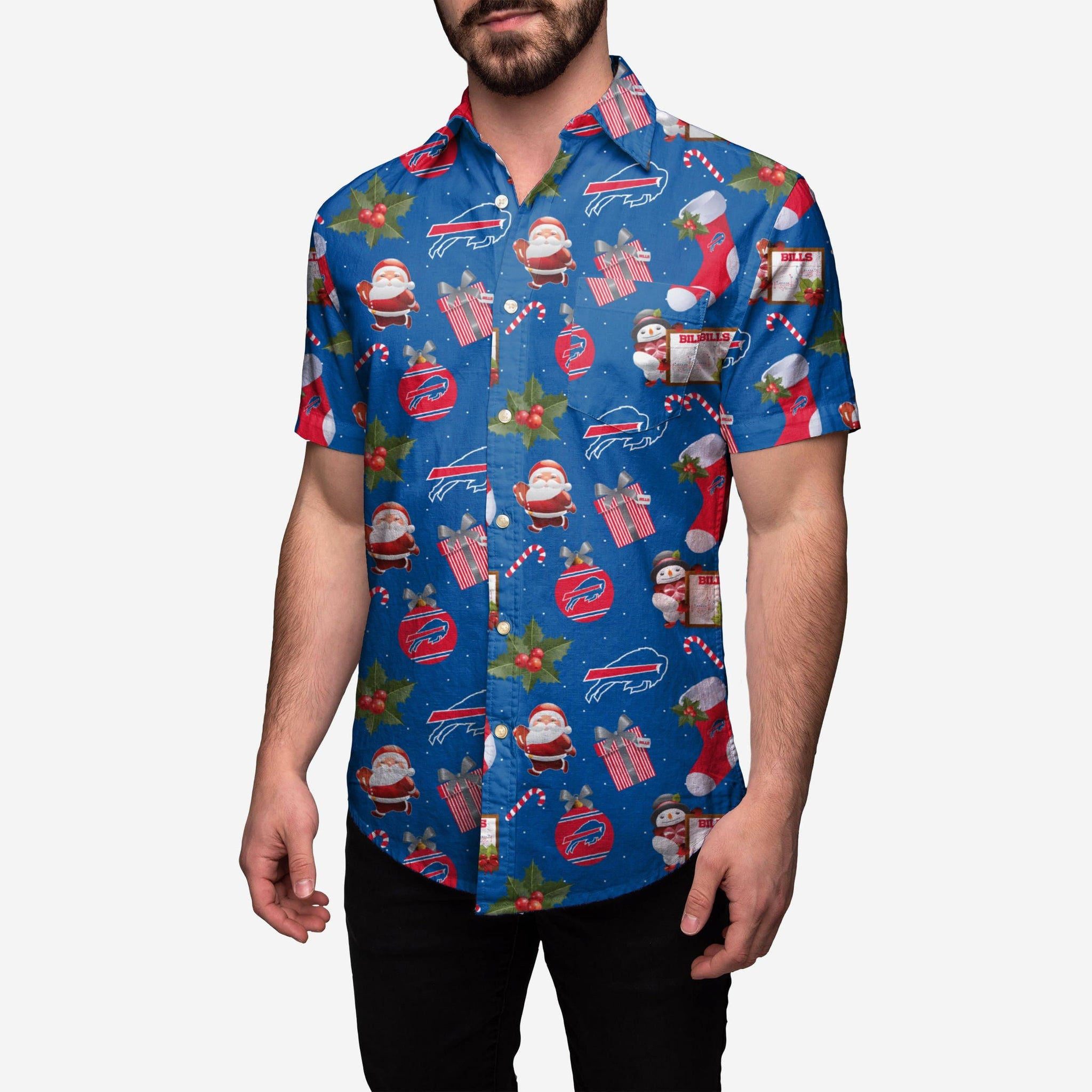 Buffalo Bills Christmas Explosion Button Up Shirt