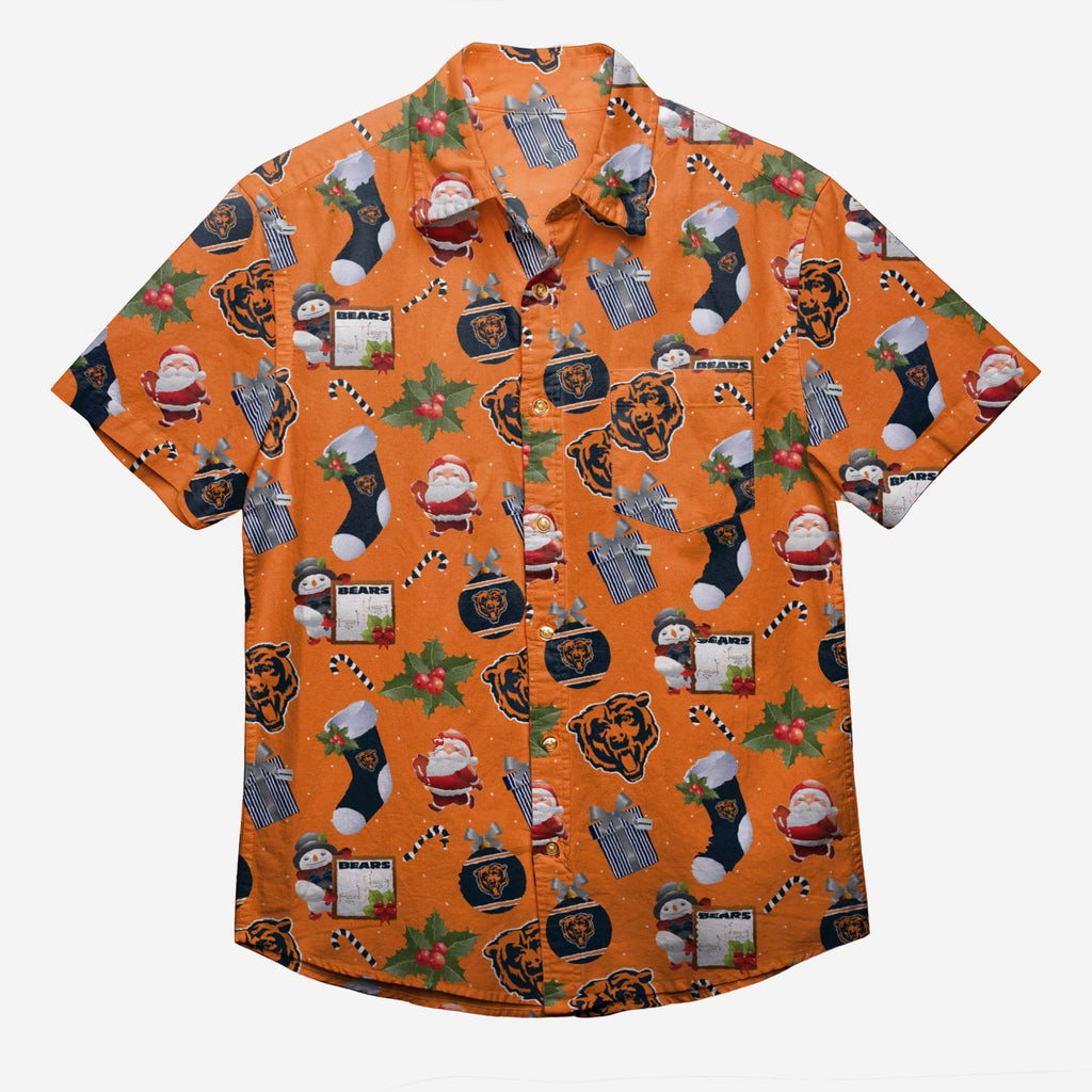 Chicago Bears Christmas Explosion Button Up Shirt