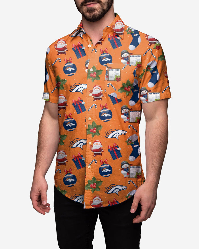 Denver Broncos Christmas Explosion Button Up Shirt FOCO S - FOCO.com