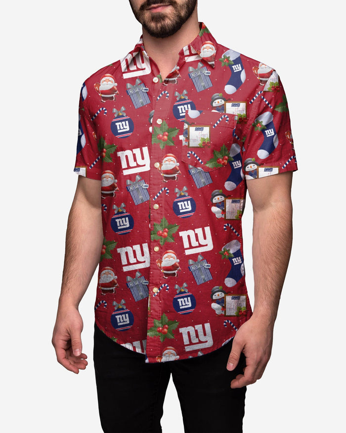 New York Giants Christmas Explosion Button Up Shirt FOCO S - FOCO.com