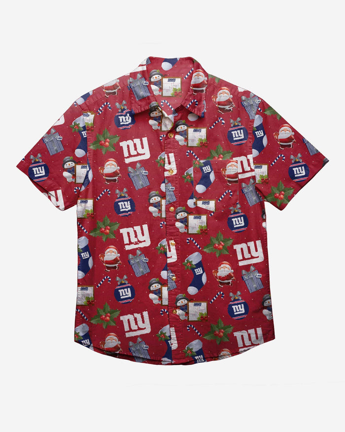 New York Giants Christmas Explosion Button Up Shirt FOCO - FOCO.com