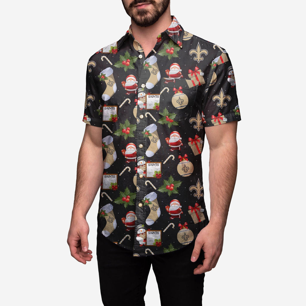 New Orleans Saints Christmas Explosion Button Up Shirt FOCO - FOCO.com