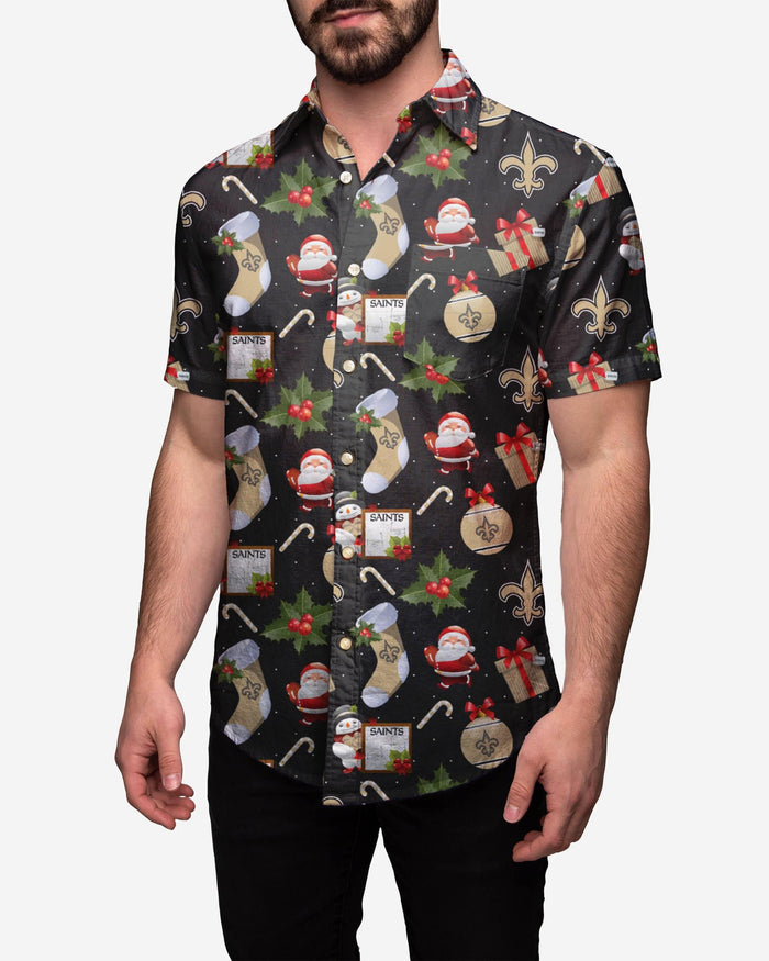 New Orleans Saints Christmas Explosion Button Up Shirt FOCO S - FOCO.com