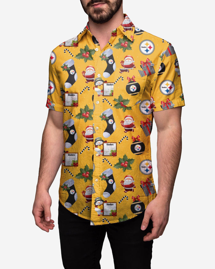 Pittsburgh Steelers Christmas Explosion Button Up Shirt FOCO S - FOCO.com