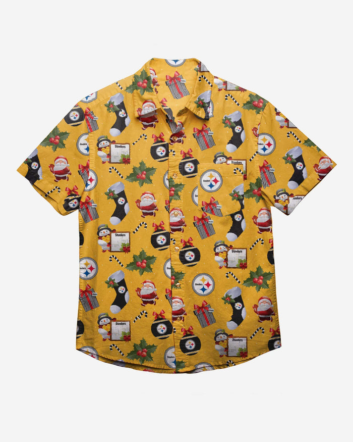 Pittsburgh Steelers Christmas Explosion Button Up Shirt FOCO - FOCO.com
