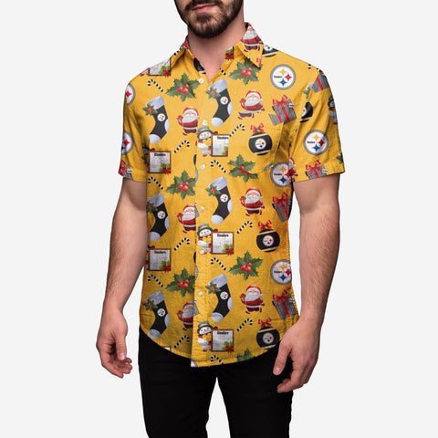 Pittsburgh Steelers Christmas Explosion Button Up Shirt