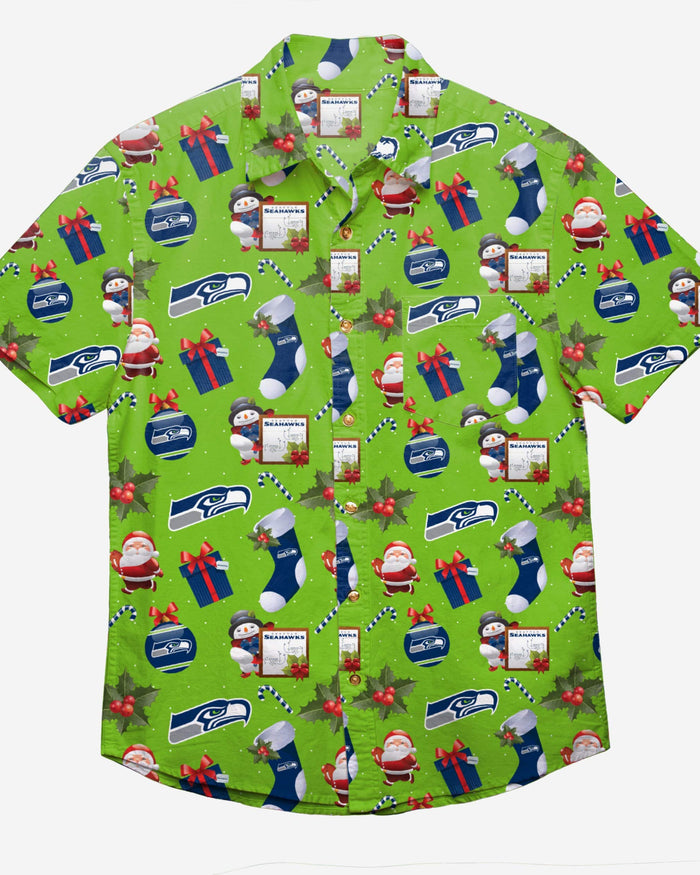 Seattle Seahawks Christmas Explosion Button Up Shirt FOCO - FOCO.com