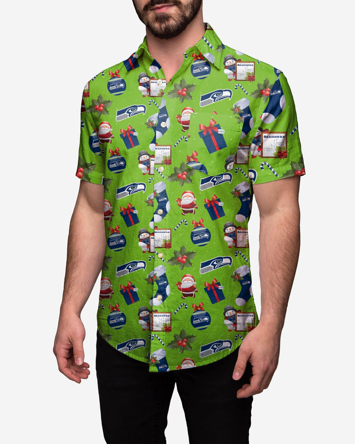 Seattle Seahawks Christmas Explosion Button Up Shirt FOCO 2XL - FOCO.com