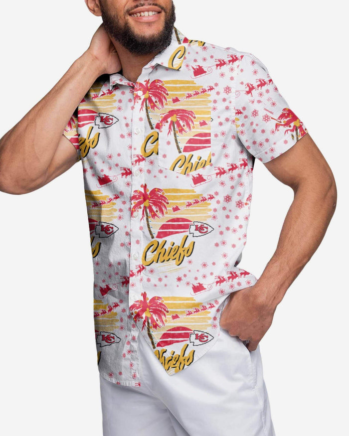 Kansas City Chiefs Winter Tropical Button Up Shirt FOCO 2XL - FOCO.com