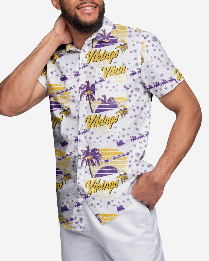 Minnesota Vikings Winter Tropical Button Up Shirt FOCO S - FOCO.com