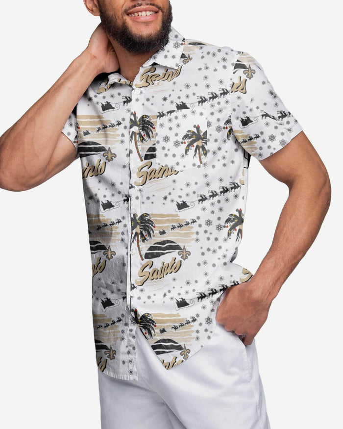 New Orleans Saints Winter Tropical Button Up Shirt FOCO S - FOCO.com