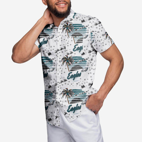 Philadelphia Eagles Winter Tropical Button Up Shirt