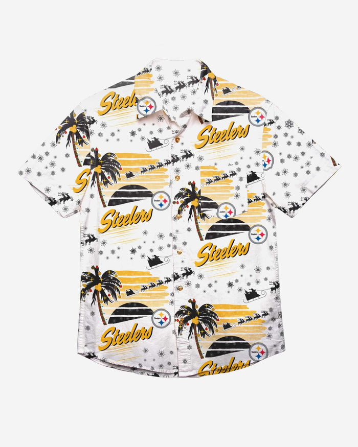 Pittsburgh Steelers Winter Tropical Button Up Shirt FOCO - FOCO.com