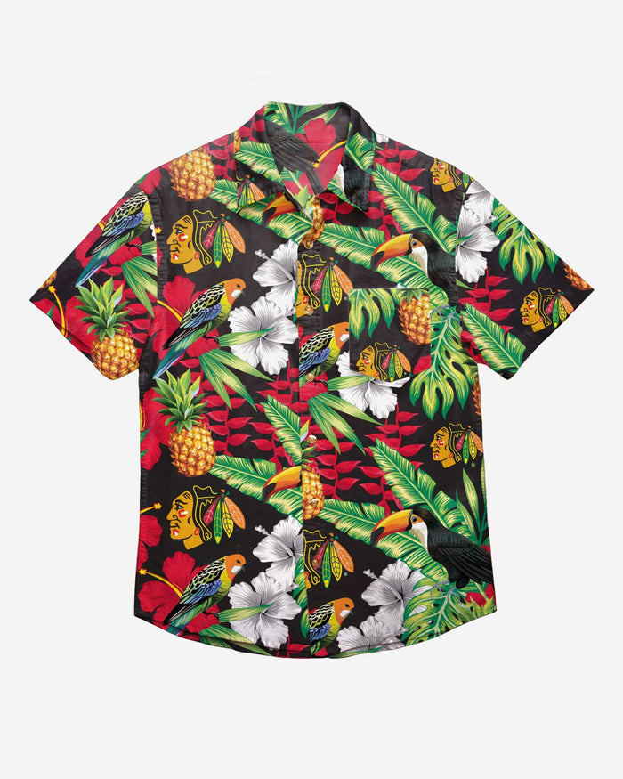 Chicago Blackhawks Floral Button Up Shirt FOCO - FOCO.com