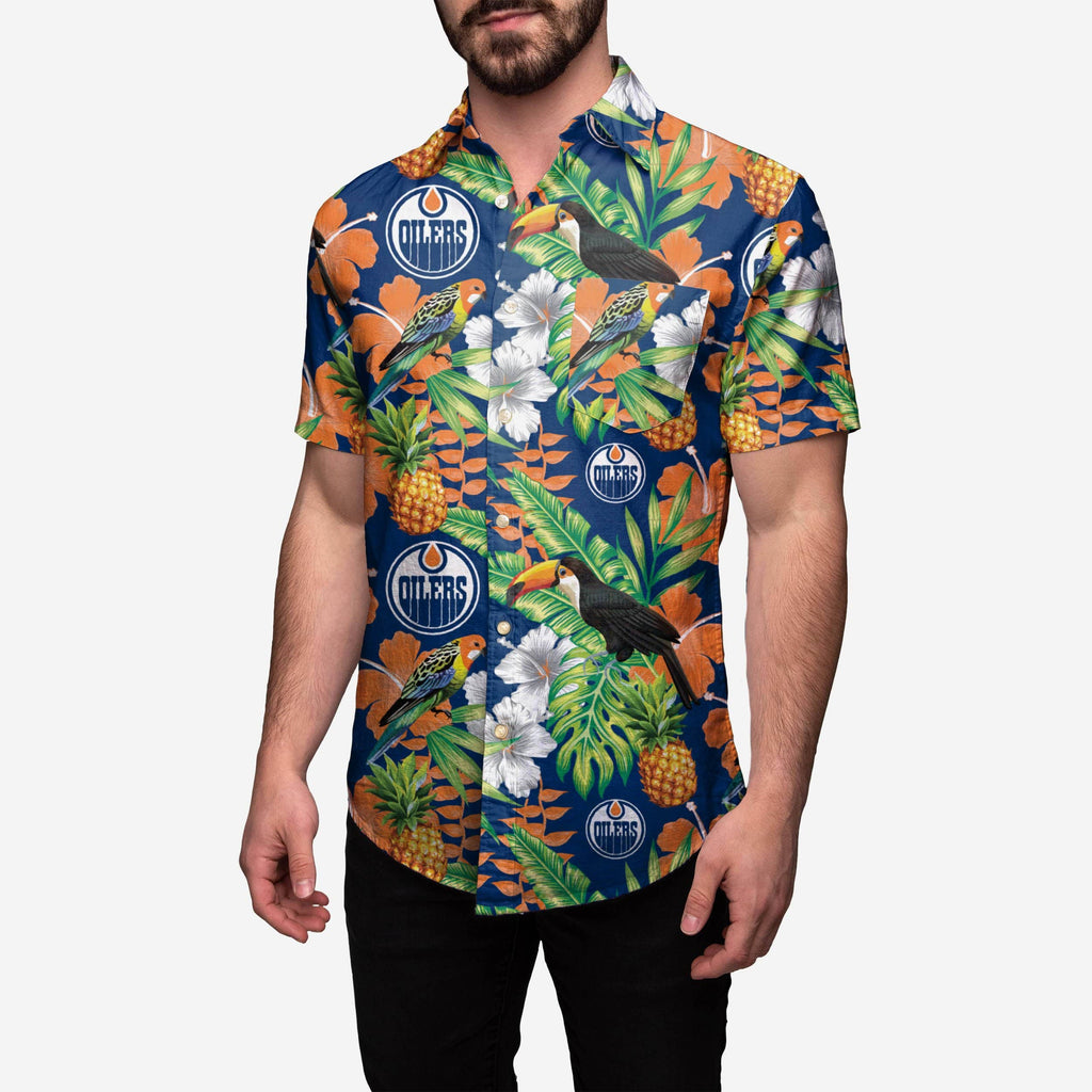 Edmonton Oilers Floral Button Up Shirt FOCO S - FOCO.com