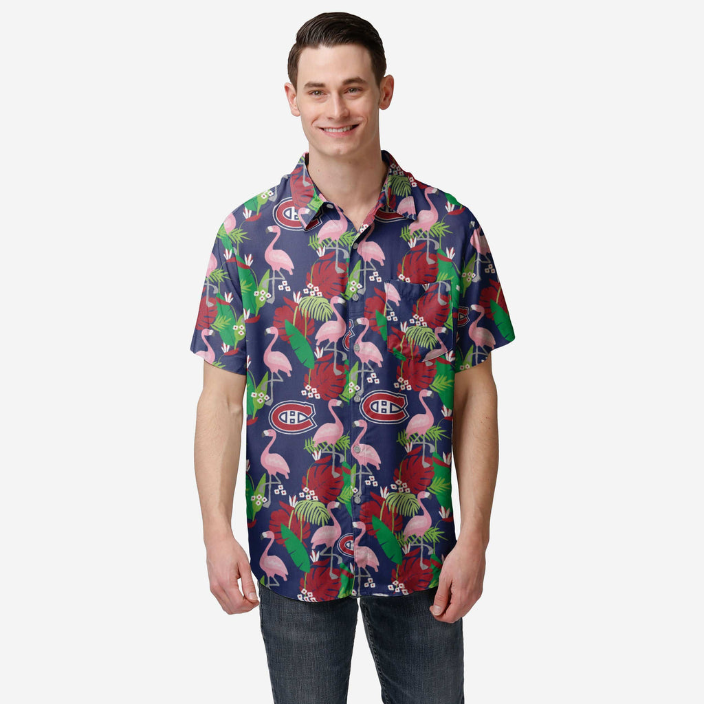 Montreal Canadiens Floral Button Up Shirt FOCO S - FOCO.com