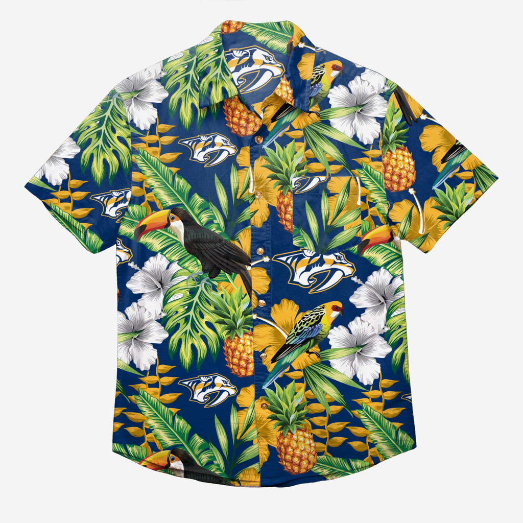 Nashville Predators Floral Button Up Shirt